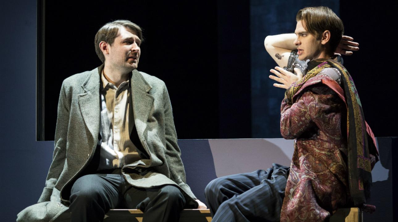 James McArdle (Louis) and Andrew Garfield (Prior) in Angels In America - Millennium Approaches