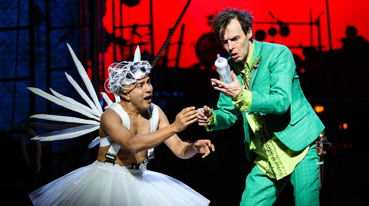 Saikat Ahmed as Tinker Bell and Paul Hilton as Peter. Photo by Steve Tanner