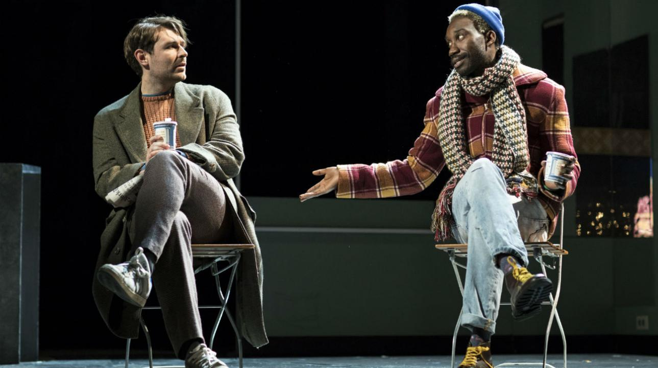 James McArdle (Louis) and Nathan Stewart-Jarrett (Belize) in Angels In America - Millennium Approaches