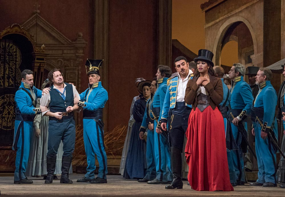 Matthew Polenzani as Nemorino, Davide Luciano as Belcore, and Pretty Yende as Adina in Donizetti's L'Elisir d'Amore