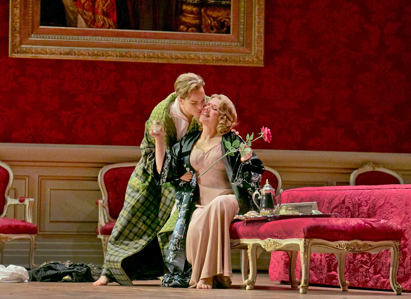 Elīna Garanča as Octavian and Renée Fleming as the Marschallin in Strauss's Der Rosenkavalier. Photo by Ken Howard/Metropolitan Opera.