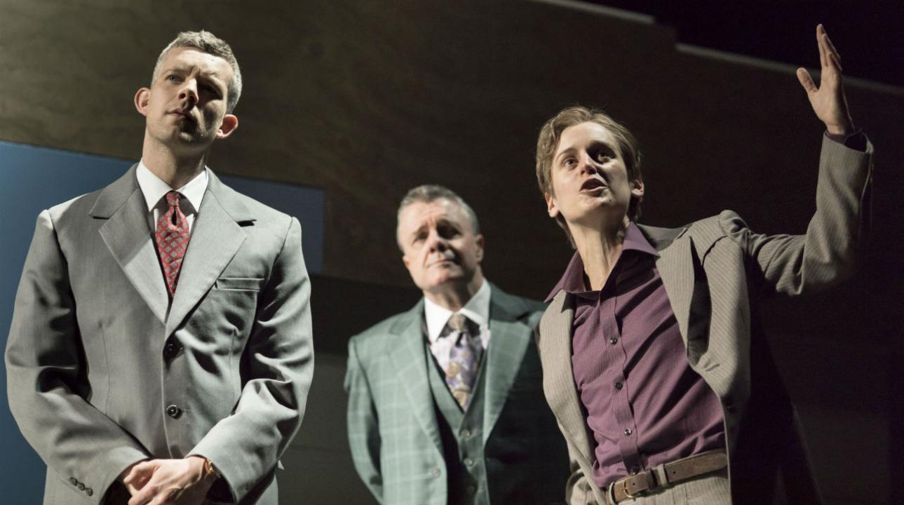 Russell Tovey (Joseph), Nathan Lane (Roy M Cohn) and Denise Gough (Martin Heller) in Angels In America - Millennium Approaches