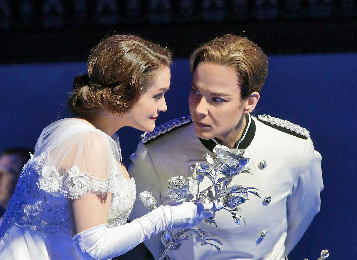 Erin Morley as Sophie and Elīna Garanča as Octavian in Strauss's Der Rosenkavalier. Photo by Ken Howard/Metropolitan Opera.