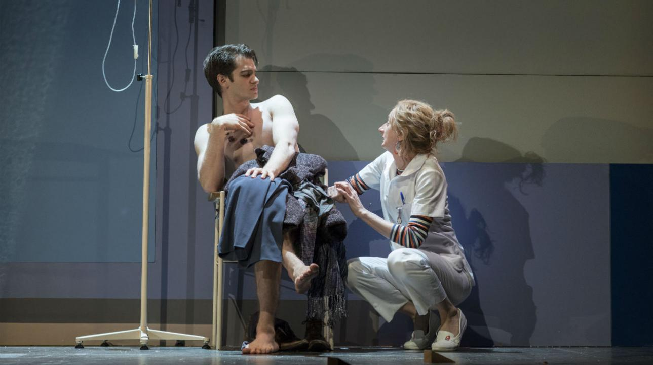 Andrew Garfield (Prior) and Amanda Lawrence (Emily) in Angels In America - Millennium Approaches