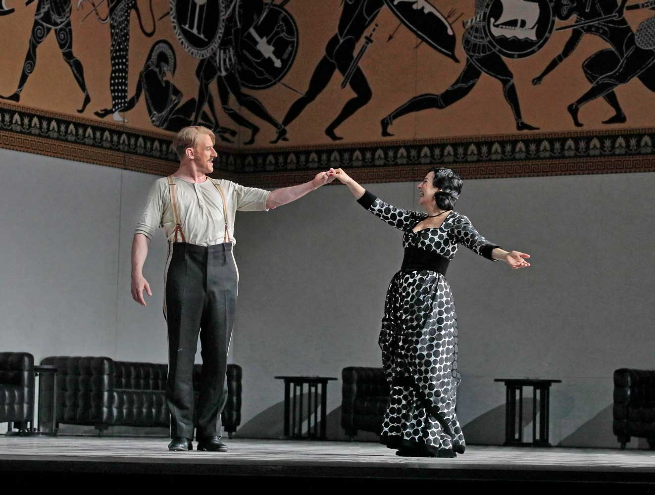 Günther Groissböck as Baron Ochs and Helene Schneiderman as Annina in Strauss's Der Rosenkavalier. Photo by Ken Howard/Metropolitan Opera.