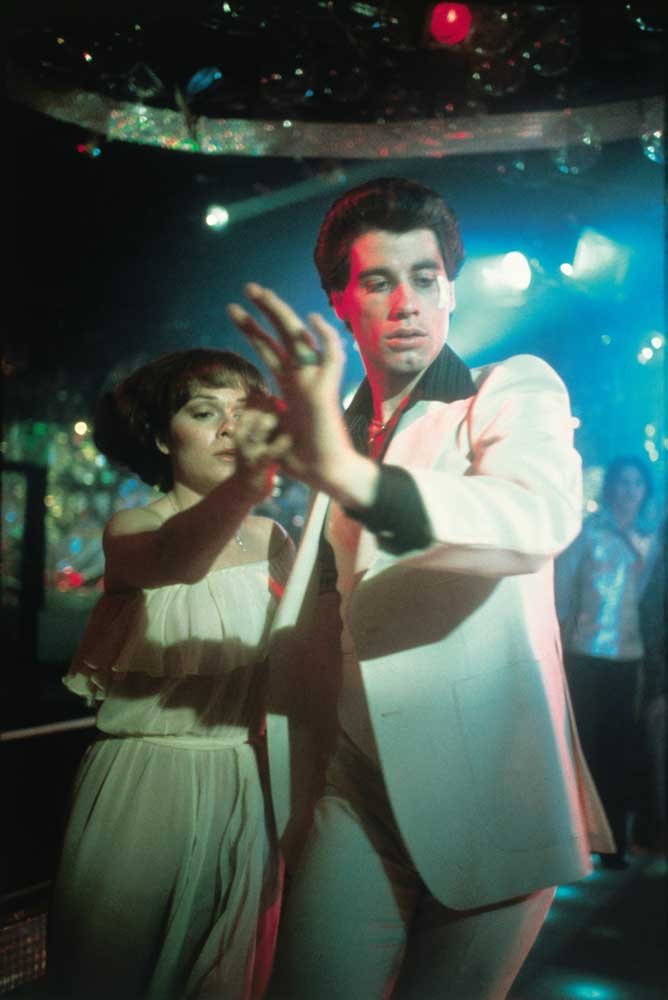 John Travolta and Karen Lynn Gorney as Tony and Stephanie in Saturday Night Fever
