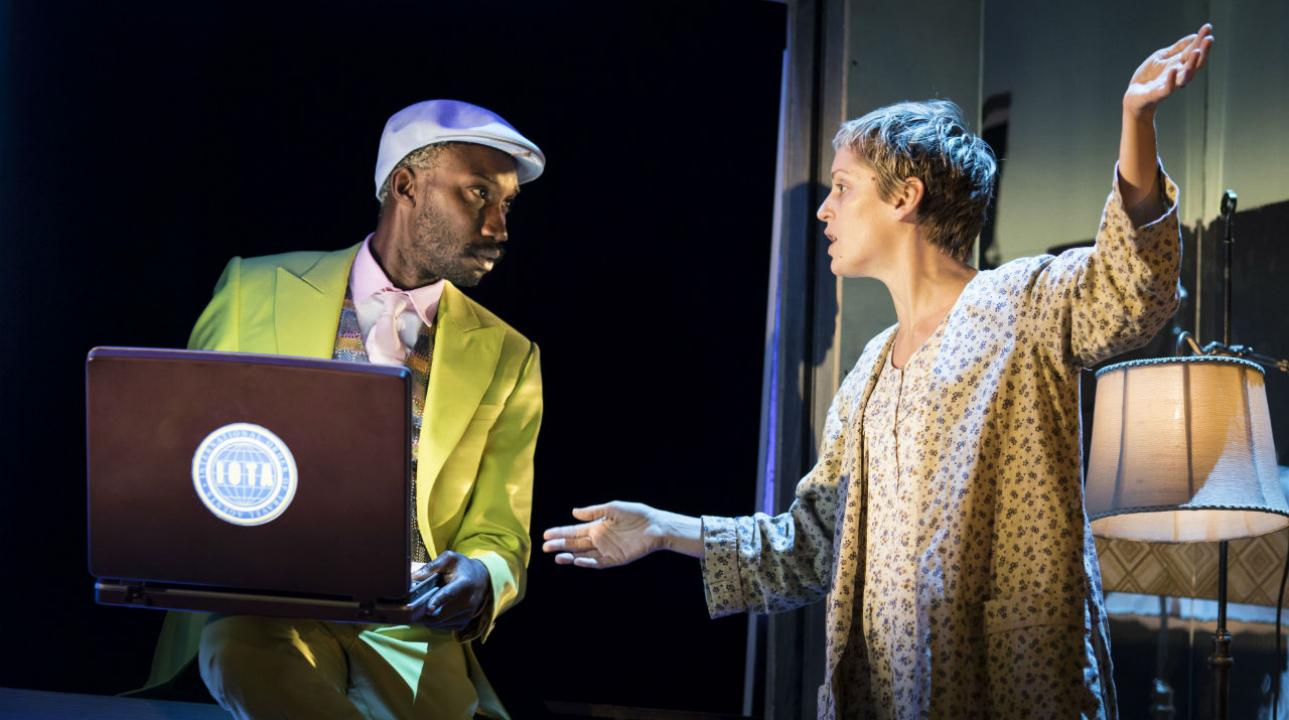 Nathan Stewart-Jarrett (Mr Lies) and Denise Gough (Harper Pitt) in Angels In America - Millennium Approaches