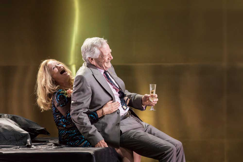 Lisa Palfrey (Big Mama) and Michael J. Shannon (Reverend) in Cat on a Hot Tin Roof.