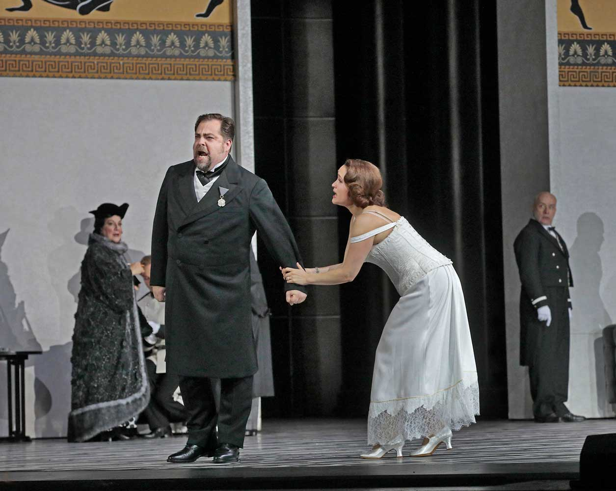 ROSE_3706b Marcus Brück as Faninal and Erin Morley as Sophie in Strauss's Der Rosenkavalier. Photo by Ken Howard/Metropolitan Opera.