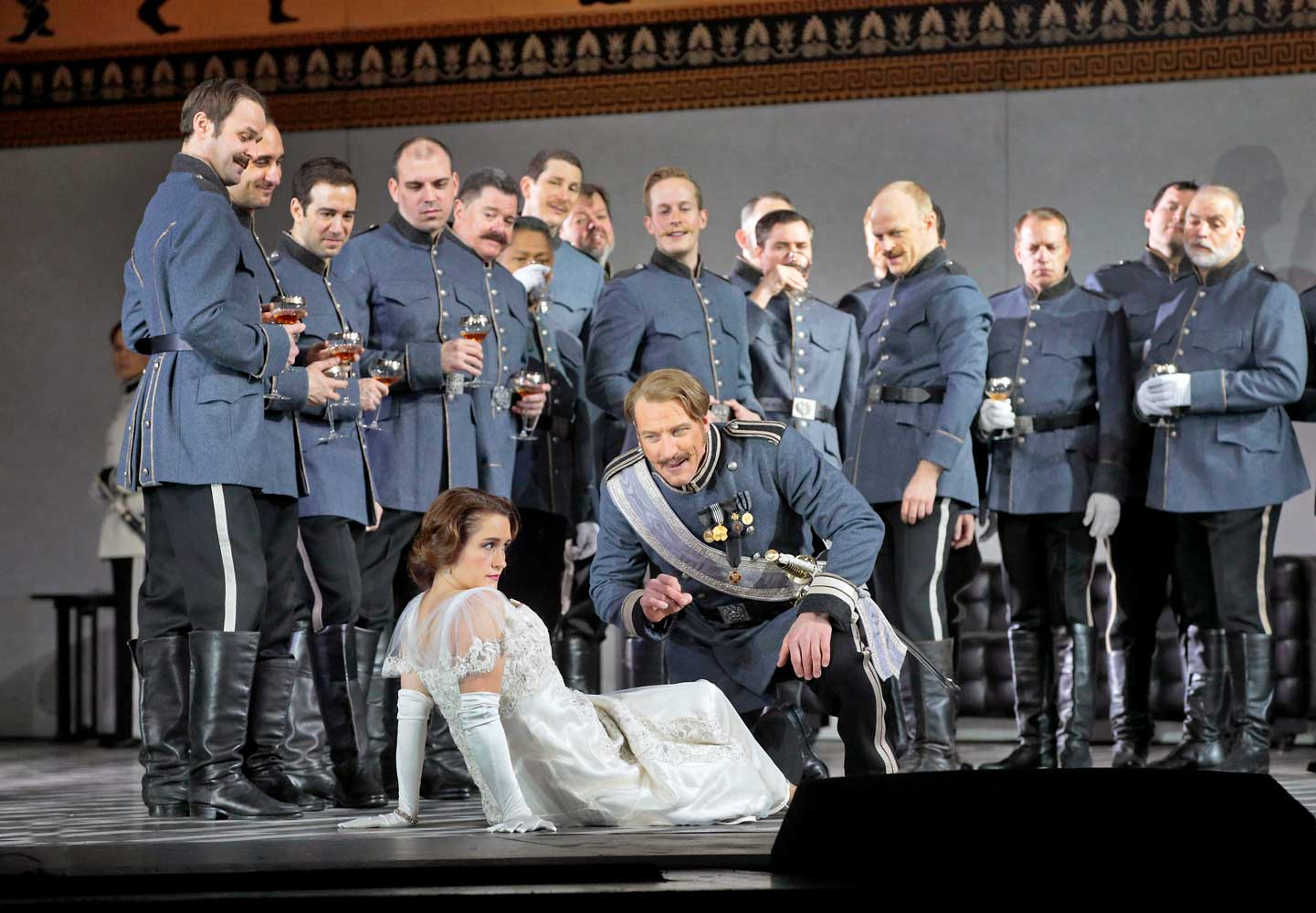 Erin Morley as Sophie and Günther Groissböck as Baron Ochs in Strauss's Der Rosenkavalier. Photo by Ken Howard/Metropolitan Opera.