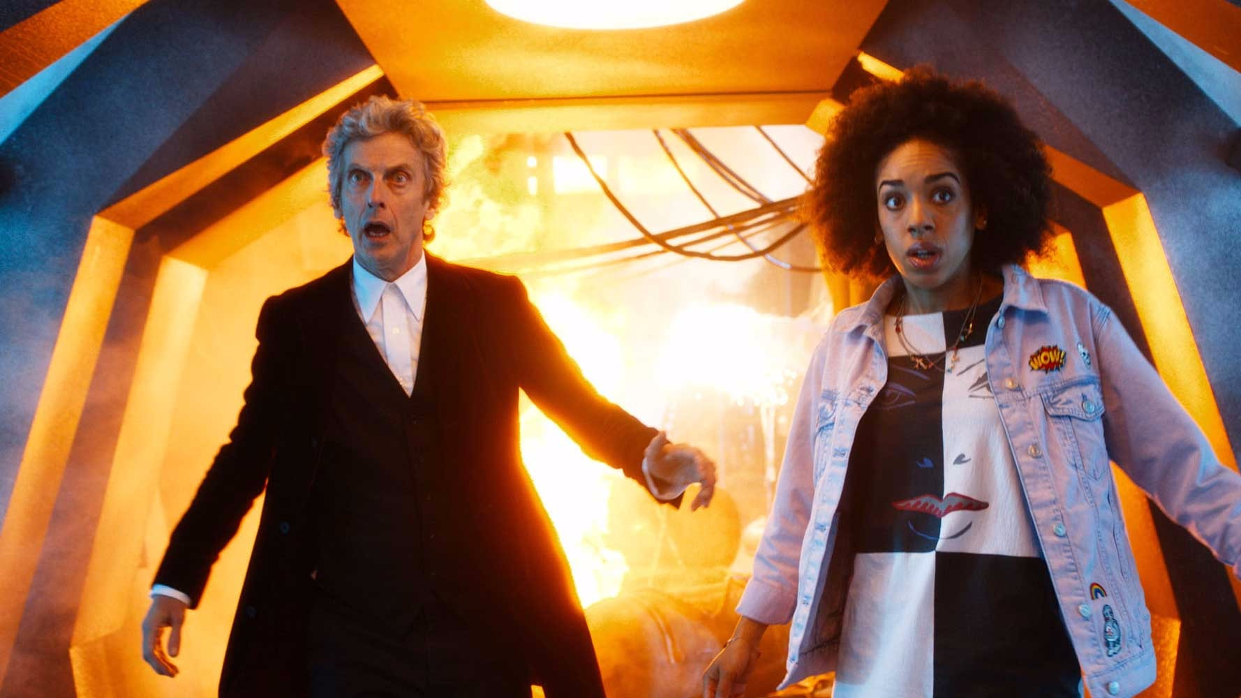 The Doctor (PETER CAPALDI) and Bill (PEARL MACKIE) from Doctor Who Season 10, Episode 1