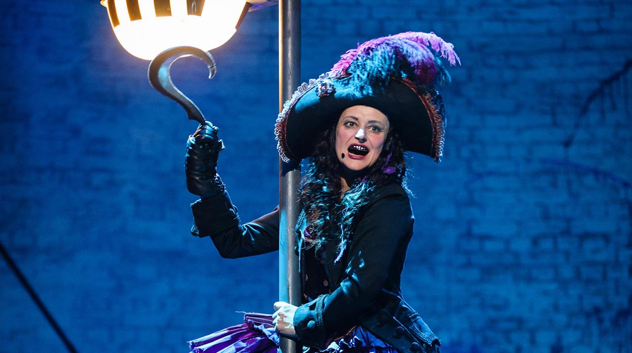 Anna Francolini as Captain Hook in Peter Pan. Photo by Steve Tanner