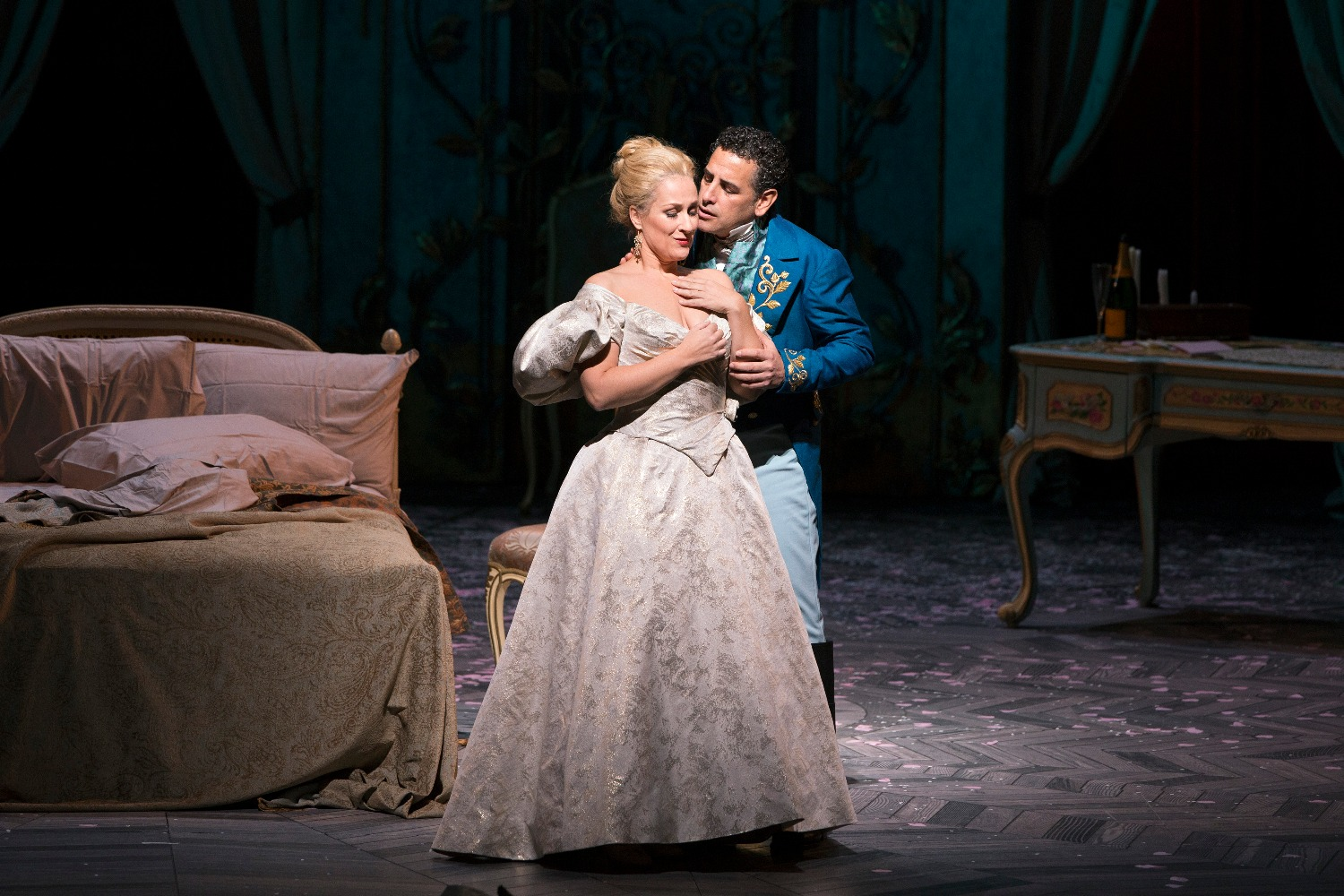 "Juan Diego Flórez as Alfredo and Diana Damrau as Violetta in Verdi's ""La Traviata."" Photo: Marty Sohl / Met Opera"