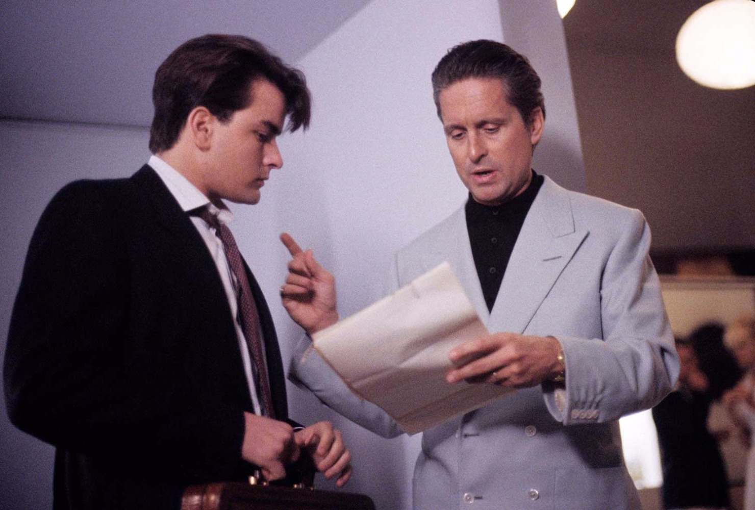 Bud Fox and Gordon Gekko in Wall Street.