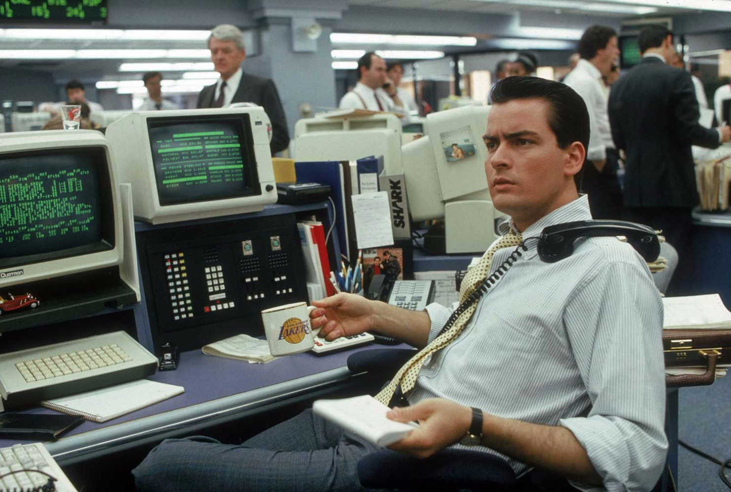 Charlie Sheen as young stockbroker Bud Fox in Wall Street.