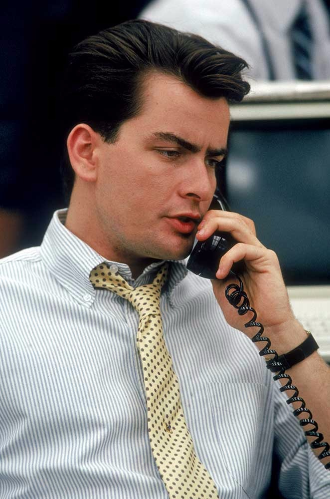 Charlie Sheen as Bud Fox in Wall Street.